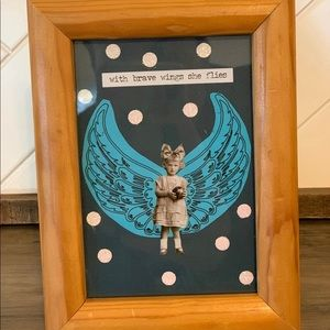 One of a kind framed art collage ❣️ brave wings